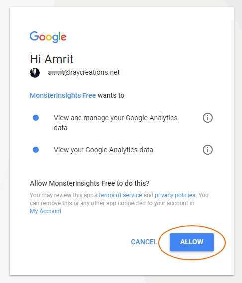 allow access Google Analytics monsterinsights