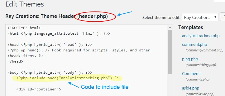 code to include file in header wordpress