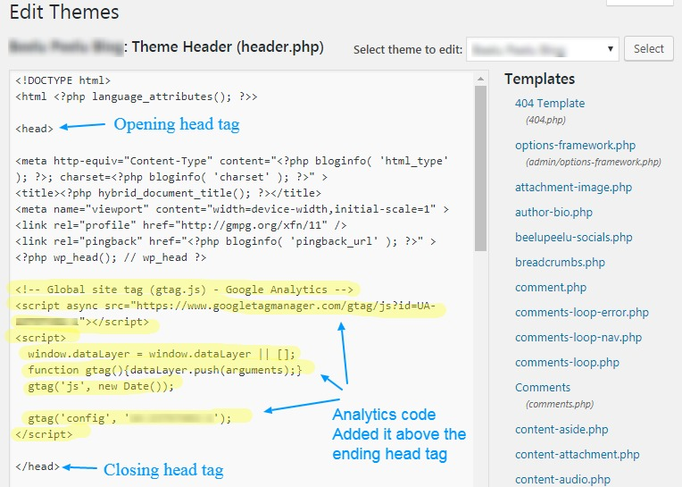 insert analytics code header wordpress