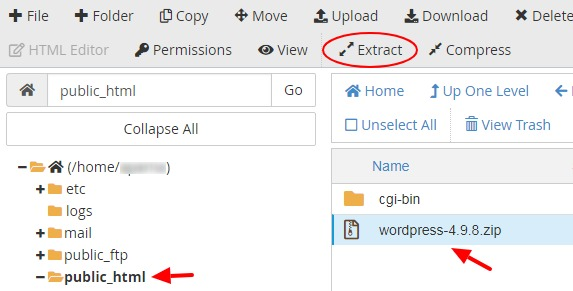Extract file in File Manager - cPanel