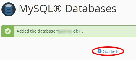 database creation confirmation in cPanel