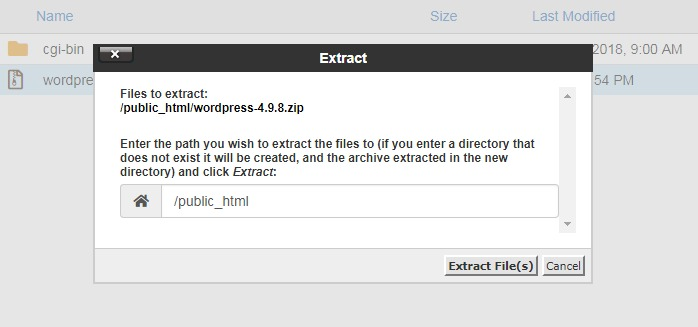 File extract dialog box in cPanel