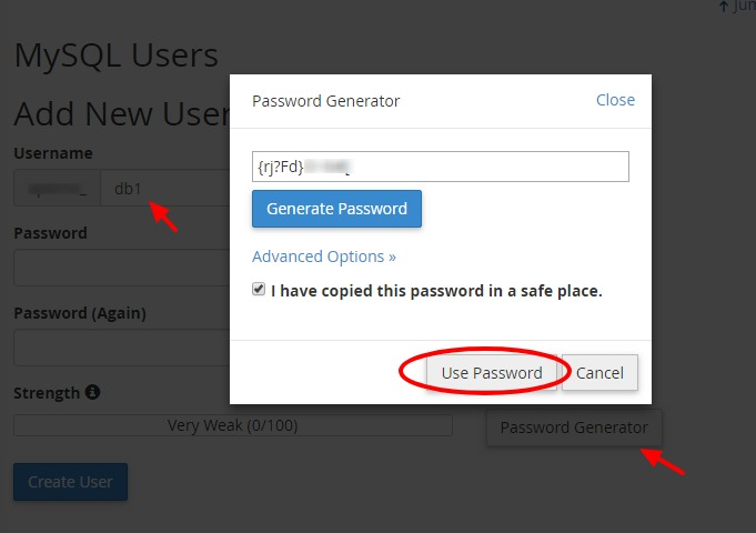 New database user password using password generator in cPanel