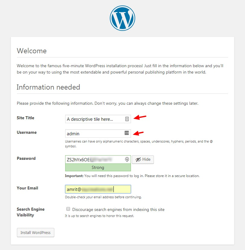 WordPress installation step 2 - input credentials