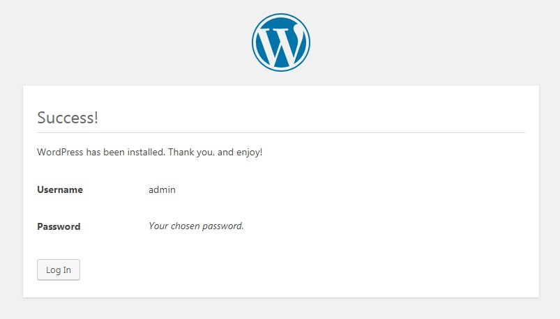 WordPress installation success confirmation