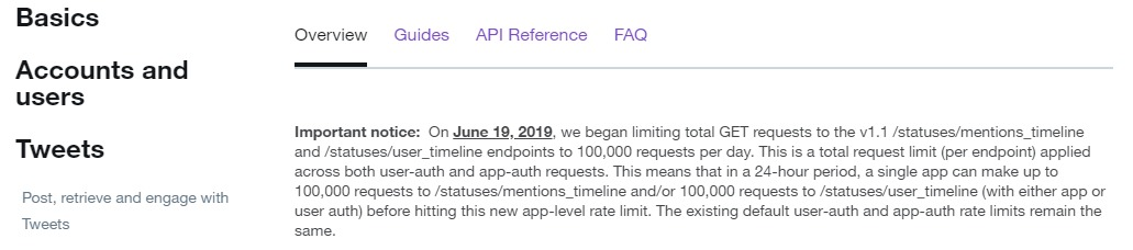 twitter notice showing a limit of tweets per application