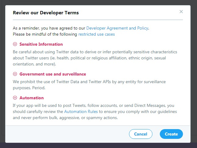 reviewing the twitter developer terms when creating an app