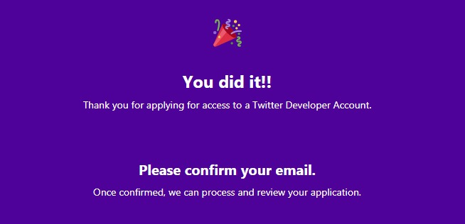 thanks for applying for twitter developer account screen