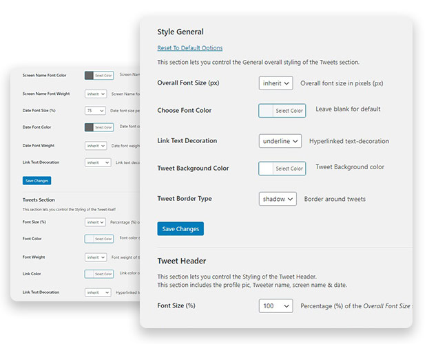 Dashboard Screenshot for Style Setting Page Options
